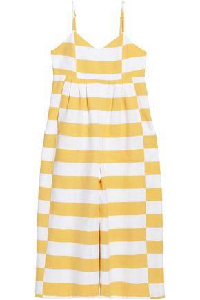 MARA HOFFMAN Pleated striped cotton-canvas jumpsuit