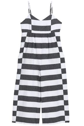 MARA HOFFMAN Pleated striped cotton-canvas jumpsuit