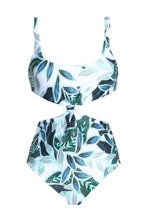 MARA HOFFMAN Cutout knotted printed swimsuit