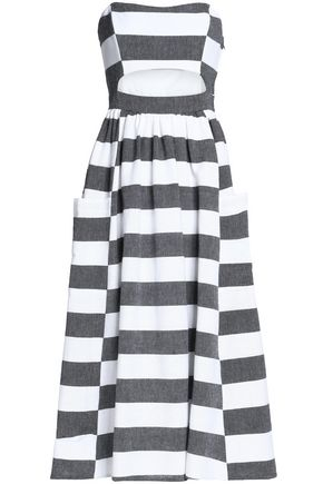 MARA HOFFMAN Cutout striped cotton-canvas midi dress