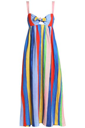 MARA HOFFMAN Bow-detailed cutout striped linen maxi dress