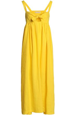MARA HOFFMAN Bow-detailed cutout linen maxi dress