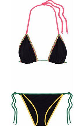 M MISSONI Braid-embellished embroidered traingle bikini