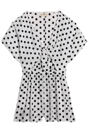 MARA HOFFMAN Tie-front cutout flocked polka-dot gauze dress