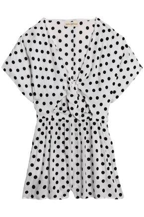MARA HOFFMAN Tie-front cutout flocked polka-dot gauze dress