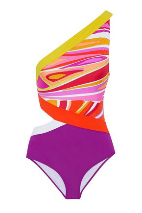 EMILIO PUCCI One-shoulder cutout printed swimsuit