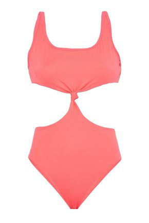 SOLID & STRIPED Knotted cutout swimsuit