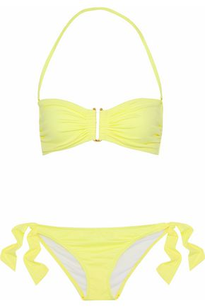 IRIS & INK Riley ruched bandeau bikini