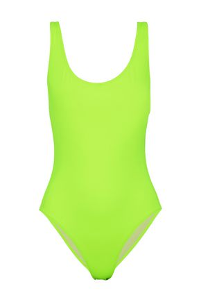 SOLID & STRIPED Open-back neon swimsuit