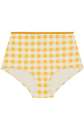 SOLID & STRIPED Gingham high-rise bikini briefs
