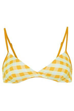 SOLID & STRIPED Twist-front gingham triangle bikini top