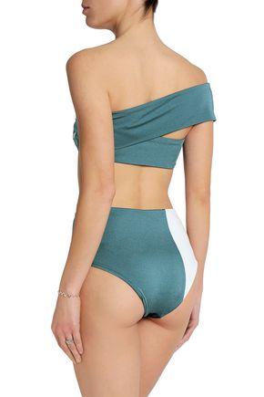 ALIX Two-tone high-rise bikini briefs