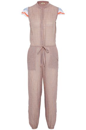 MASTER&MUSE x LEMLEM Frayed gauze-paneled crinkled cotton-blend jumpsuit