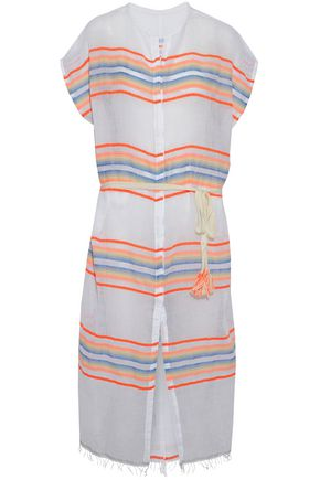 LEMLEM Belted striped stretch cotton-gauze coverup