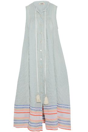 LEMLEM Striped cotton-blend coverup