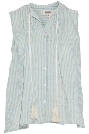LEMLEM Tasseled striped cotton blend-gauze top