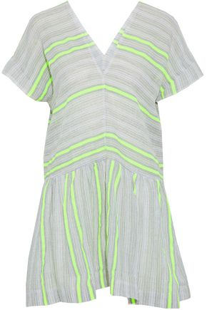 LEMLEM Striped cotton-blend gauze coverup