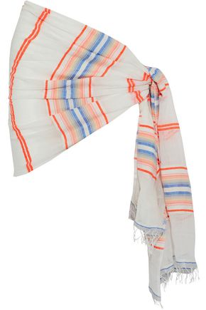 LEMLEM Fringe-trimmed striped cotton-blend gauze sarong