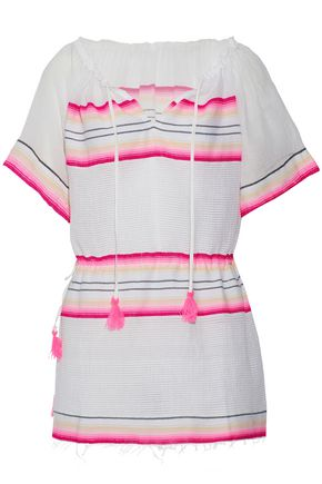 LEMLEM Tasseled striped cotton-blend gauze coverup