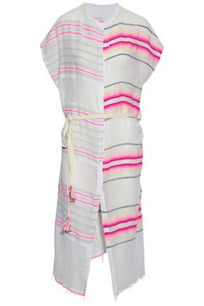 LEMLEM Fringe-trimmed striped cotton-blend gauze coverup