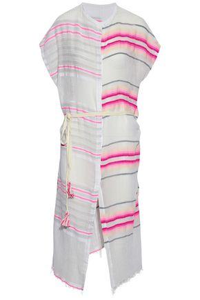 LEMLEM Fringe-trimmed striped cotton-blend gauze coverup