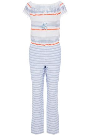 LEMLEM Fringed striped embroidered cotton-blend gauze jumpsuit