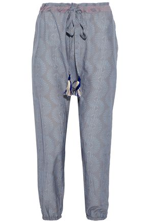 MASTER&MUSE x LEMLEM Cropped printed cotton and silk-blend tapered pants