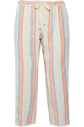 LEMLEM Striped cotton-blend gauze pants