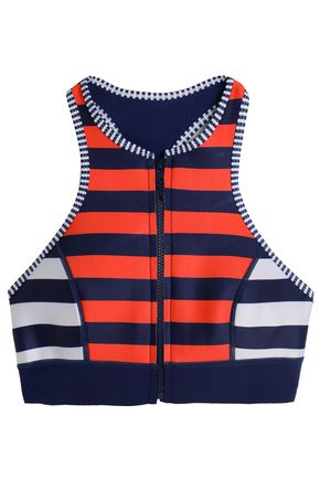 DUSKII Striped neoprene bikini top