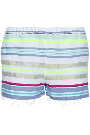 LEMLEM Frayed striped cotton-blend gauze shorts