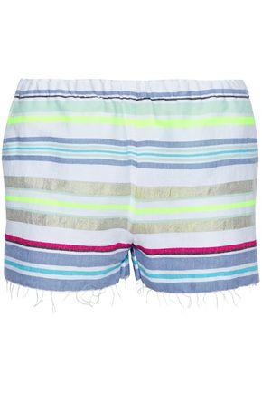 LEMLEM Frayed striped cotton-blend gauze shorts