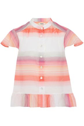 MASTER&MUSE x LEMLEM Ruffled striped cotton-voile top
