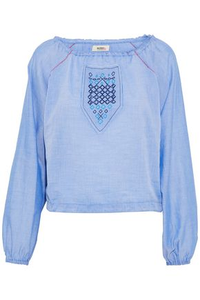 LEMLEM Embroidered cotton-chambray coverup