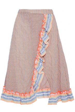 MASTER&MUSE x LEMLEM Wrap-effect ruffled striped cotton-blend skirt