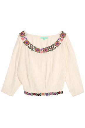 MELISSA ODABASH Embroidered cotton top