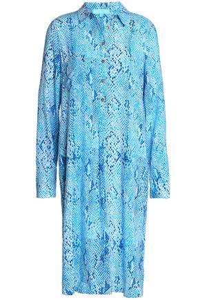 MELISSA ODABASH Snake-print voile dress