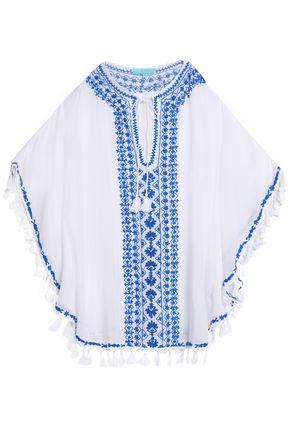 MELISSA ODABASH Tasseled embroidered voile kaftan