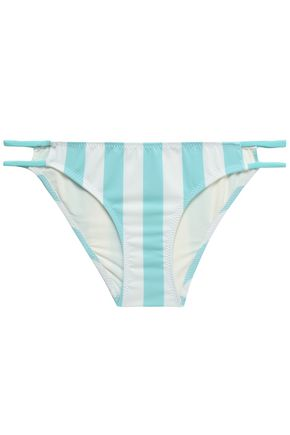 SOLID & STRIPED Low-rise two-toine strip0ed stretch-knit bikini briefs