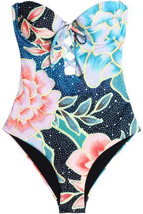 MARA HOFFMAN Knotted printed halterneck bikini top