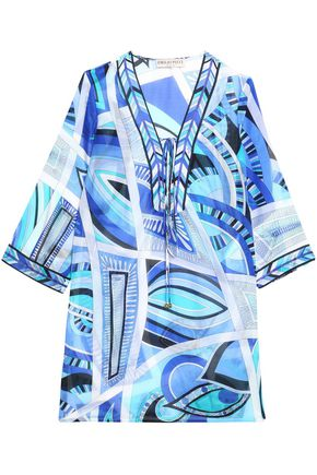 EMILIO PUCCI Printed cotton and silk-blend cover-up