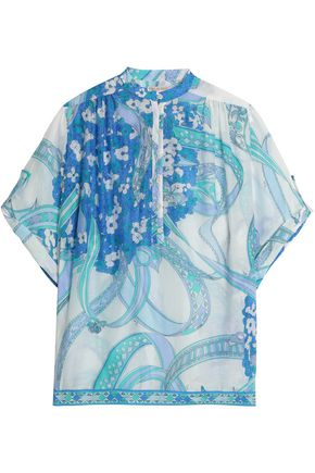 EMILIO PUCCI Printed cotton and silk-blend gauze top