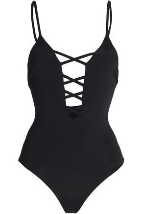 MARA HOFFMAN Lattice-trimmed swimsuit