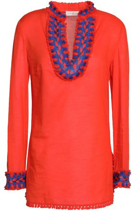 TORY BURCH Jersey-paneled tassel-trimmed cotton-mousseline kaftan