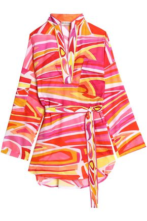 EMILIO PUCCI Belted printed cotton-gauze coverup