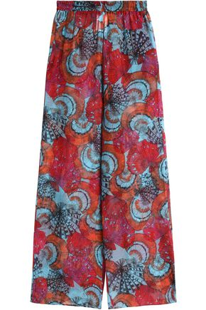 EMILIO PUCCI Printed silk-jacquard wide-leg pants