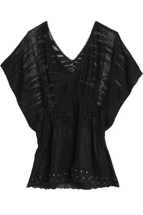 ROBERTO CAVALLI BEACHWEAR Draped open-knit paneled broderie anglaise chiffon cover up