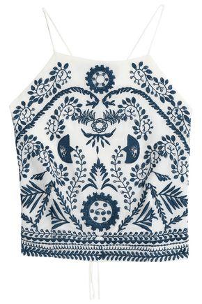 ANTIK BATIK Cropped embroidered gauze top