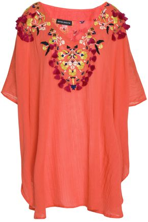 ANTIK BATIK Frayed embroidered cotton-crepe blouse