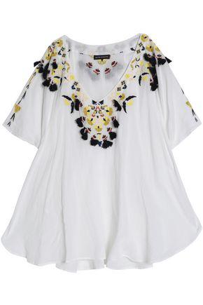ANTIK BATIK Frayed embroidered cotton-crepe blouse