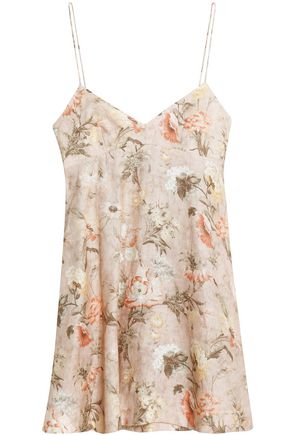 Zimmermann Flared Fl Print Linen Mini Dress